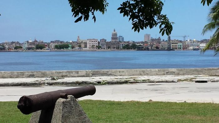 Looking across the Bay at Central Havana. This view is from the municipality of Regla in Cuba.